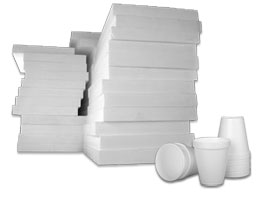 Polystyrene cups and sheets