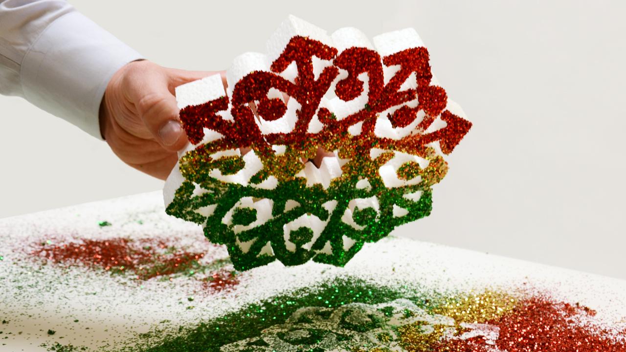 Styrofoam Snowflake Covered In Glitter