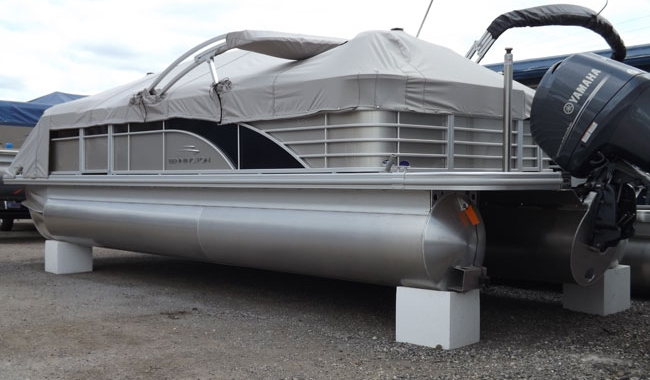 EPS foam blocks used to support pontoon boat