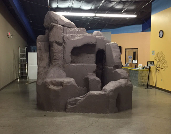 Eps foam blocks to create giant rock formation universal