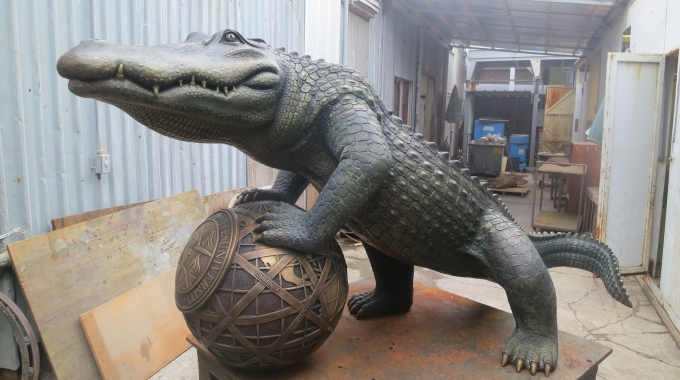 EPS Foam Sphere used to create sculpture of San Francisco Gators Mascot
