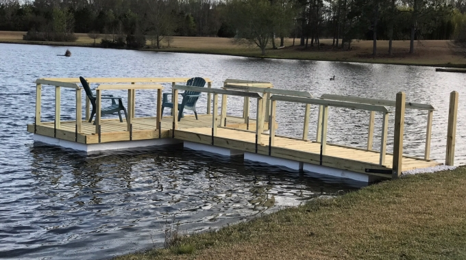 Seven blocks of .9 lb Virgin EPS were used to float this dock in Millen, GA